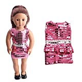 Dinglong Our Generation 18 inch American Girl Doll Clothing Cute Sequins Pretty Summer Dress, DIY Dolls Clothes Outfits, Children Educational Pretend Play Toys, Gifts for Baby Girls (Pink)