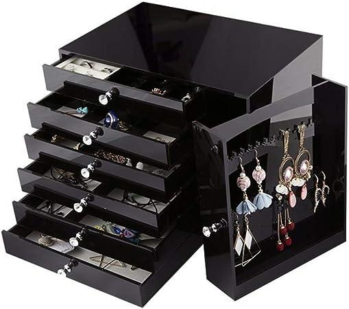 Caja de joyería Organizador grande de la joyería con el cajón Vestir joyería Tabla Estuche de viaje caja de regalo de bodas regalo de cumpleaños de almacenamiento para anillos, pulseras, pendientes, c: