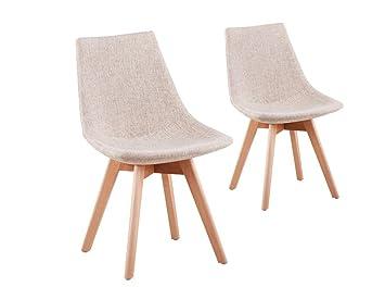 usinestreet lot de 2 chaises scandinaves loa tissu avec pieds bois couleur beige - Chaises Scandinaves Couleur