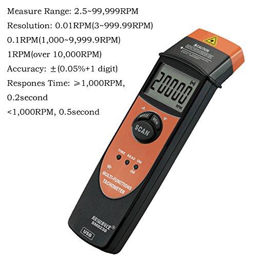 Multi-Functional Tachometer 2.5-99999RPM Handheld Digital LCD RPM Meter USB Interface Speedmeter Recorder SM8238 by Dig dog bone (Image #3)
