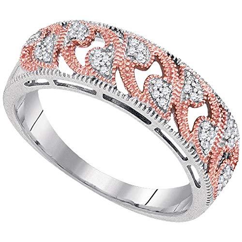 Diamond Filigree Heart Band Ring - Diamond Heart Ring Filigree Band Milgrain Openwork Fashion Womens Fancy .09ct 10k White Gold