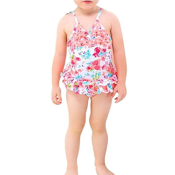 Zhhlaixing Baby Girls Swimsuit Floral Swimwear Ruffle Swimming