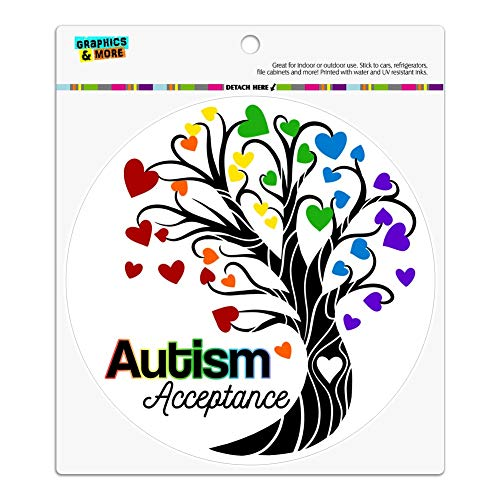 GRAPHICS & MORE Autism Acceptance Tree of Life with Hearts Automotive Car Refrigerator Locker Vinyl Circle Magnet -