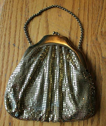 Whiting & Davis Vintage Brass Metal mesh Coin purse Evening bag clutch Gold