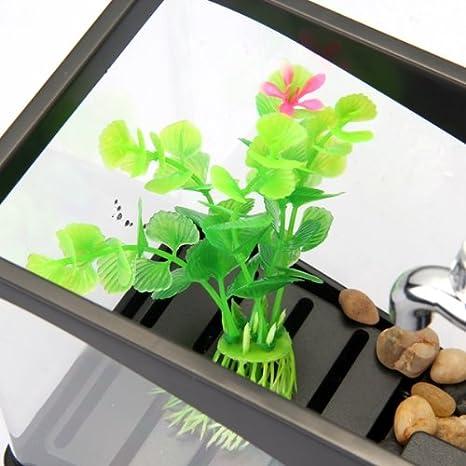 Mini Multi Función Pez Pecera Acuario LED Portalápices Escritorio Color Negro: Amazon.es: Juguetes y juegos