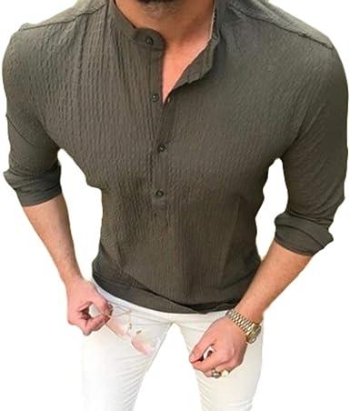 Hombre Camisa de Manga Larga Casual Blusas Color Puro Cuello Mao Shirt con Botón Otoño y Primavera Tops Tallas Grandes Camisas: Amazon.es: Ropa y accesorios