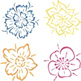 """wall painting ideas Fancy Flowers Stencil - (size 10.5""""w x 10.5""""h) Reusable Wall Stencils for Painting - Best Quality Template Allover Wallpaper ideas - Use on Walls, Floors, Fabrics, Glass, Wood, and More..."""