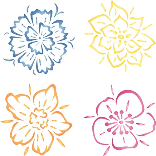 """Fancy Flowers Stencil - (size 10.5""""w x 10.5""""h) Reusable Wall Stencils for Painting - Best Quality Template Allover Wallpaper ideas - Use on Walls, Floors, Fabrics, Glass, Wood, and More..."""
