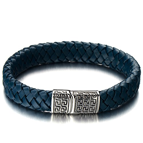 Braided Leather Bracelet Wristband Magnetic