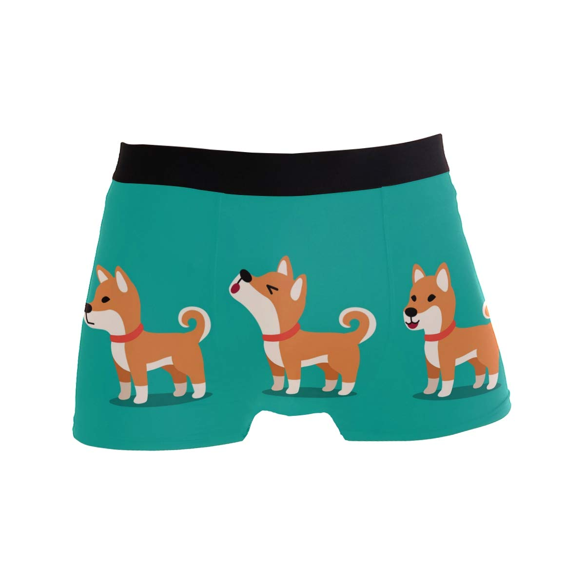 SUABO Men Boxer Briefs Polyester Underwear Men 2 Pack Boxer Briefs for Valentines Gift with Dogs Pattern