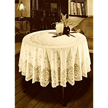 Early American Designs, Now In Vinyl Lace Tablecloth. Elegant, Easy To