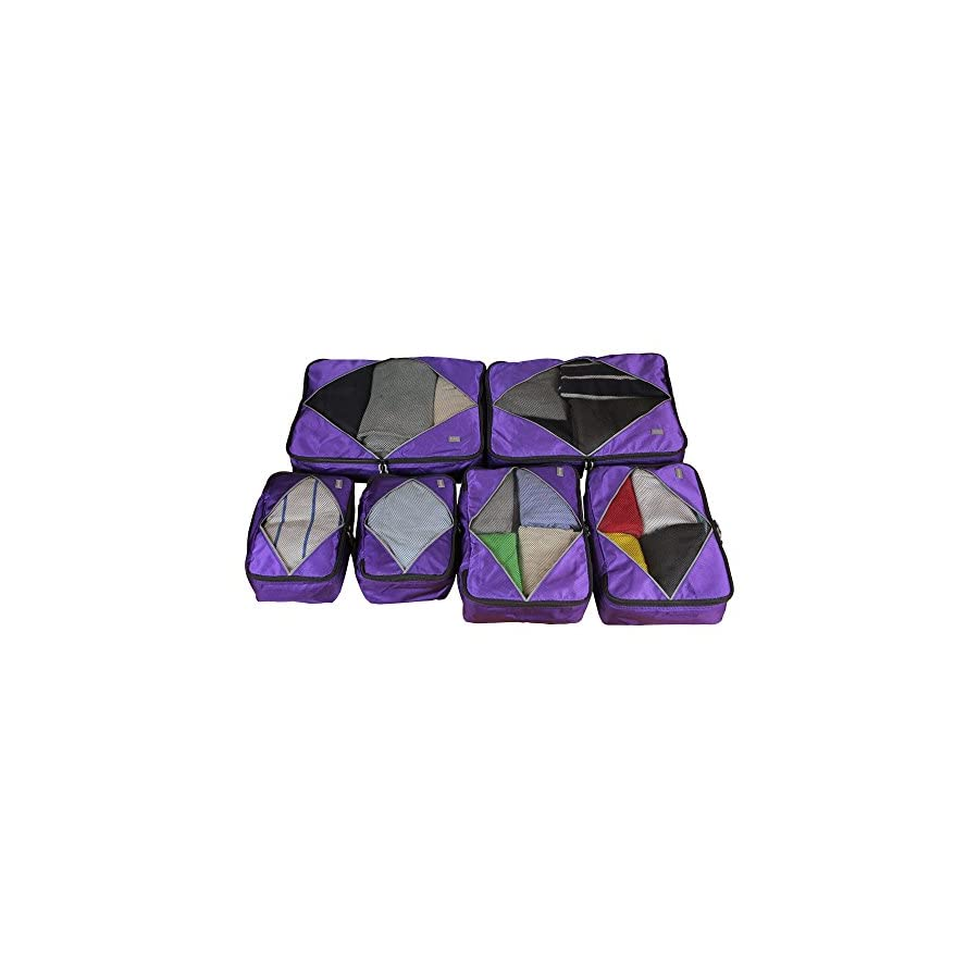 Rusoji Premium Packing Cube Travel Luggage Organizers 6pc Various Size Set (Purple)