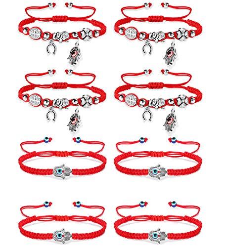Hanpabum 8pcs Lucky Red String Bracelets for Women Men Evil Eye Hamsa Hand Braided Cord for Protection Bracelet Adjustable ()