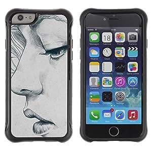 Suave TPU GEL Carcasa Funda Silicona Blando Estuche Caso de protección (para) Apple Iphone 6 / CECELL Phone case / / portrait woman art sketch depression /