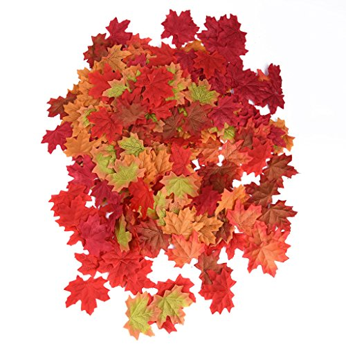 300 PCS Artificial Maple Leaves in 6 Color Fall Wedding Flowers Artificial Maple Leaf Art Flowers for Party