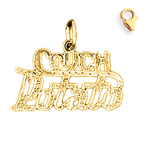 Jewels Obsession Saying Pendant | 14K Yellow Gold Couch Potato Saying Charm Pendant - 16mm