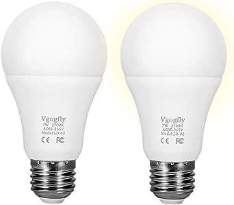 Sensor Lights Bulb Dusk to Dawn LED Light Bulbs Smart Lighting Lamp 7W E26/E27 Automatic On/Off, Indoor/Outdoor Yard Porch Patio Garage Garden (Warm White, 2 Pack)