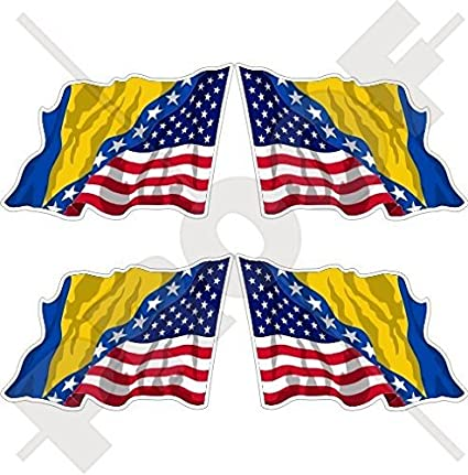 USA United States America-CHILE American /& Chilean Flying Flag 50mm Stickers x4
