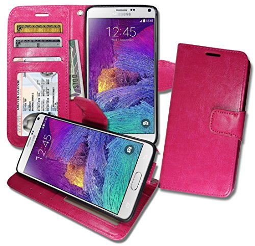 [Note4 [ Wallet ] Case, Samsung Note 4 Soft Leather Flip Cover with [ Foldable Stand ] Pockets for ID, Credit Cards, Kickstand Features (Hot] (Lady Gaga Video Costumes)