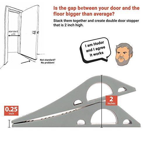 Wundermax Decorative Door Stopper With Free Bonus Holders, Door Stop Works on All Floor Surfaces, Premium Rubber Door Stops, The Original (6 Pack, Grey) by Wundermax (Image #5)