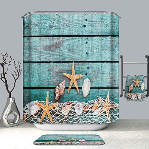 Bathroom Rug Shower Curtain 4-Piece Set Marine Life