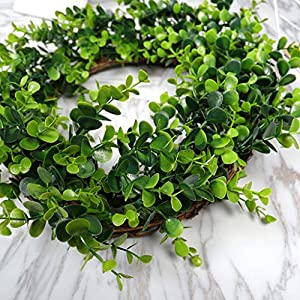 Karooch DIY Simulation Artificial Wreath Wall-Mounted Ornament Rose Eucalyptus Leaves Green Plant Burlap Garland Window Door Hanging Decor for Wedding Ceremony Party Home Garden (Green Plant) 3