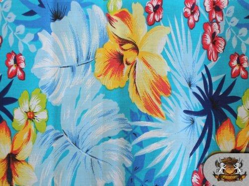 Polycotton Printed HAWAIIAN AQUA Fabric By the Yard (Hawaiian Print Fabric)