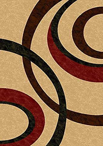 Maxy Home Istanbul Collection IS-1032 Modern Contemporary Area Rug - 59-inch-by-82-inch - 5'x'7' ((: FREE COURTESY GIFT - 1032 Red Kitchen
