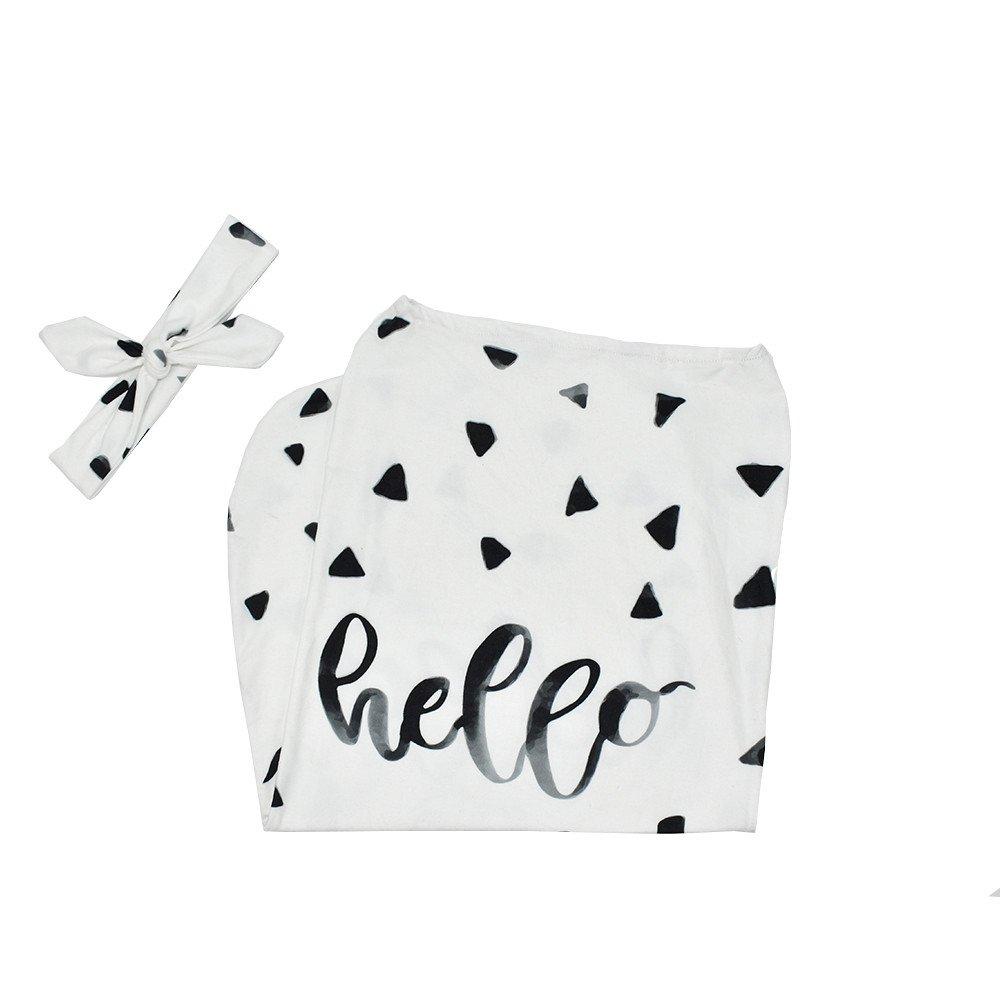 2pcs Newborn Baby Blanket Swaddle Sleeping Bag Stroller Wrap Letter Dot Print Sleep Sack Headbands for Indoor Outdoor (B, 2pcs)