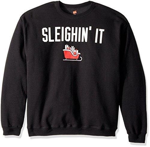 Hanes Men's Ugly Christmas Sweatshirt,Black/Sleighin' It,Large