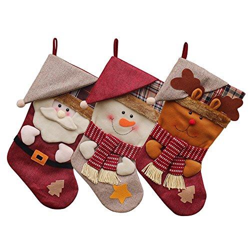 JUN-Q (3 Pack) Classic Christmas Stockings 18