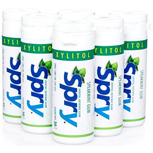 Spry Xylitol Gum, Natural Spearmint, 30ct (6 Pack) (Spearmint Spry Xlear Gum)