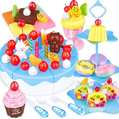BeesClover 39-86Pcs Pretend Play Fruit Cutting Birthday Cake Kitchen Food Toys Pink Blue Girl Gift for Children 86 PCS One Size