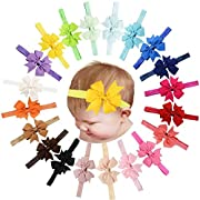 20 Pcs Baby Girls Headbands Grosgrain Ribbon Hair Bows for Infant Newborn