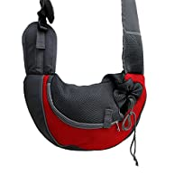 UNKE Small Pet Dog Cat Kitty Carry Carrier Outdoor Travel Oxford Single Shoulder Bag Sling,Red,S