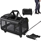 KOPEKS Pet Carrier with Detachable Wheels for Small and Medium Dogs & Cats - Black