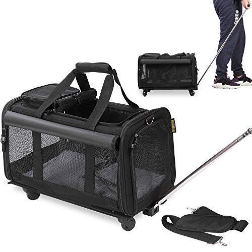 KOPEKS Pet Carrier with Detachable Wheels for Small and Medium Dogs & Cats – Black