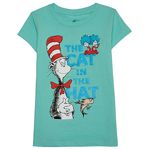 Dr. Seuss Little Girls' Toddler Cat in the Hat T-Shirt, Mint, 4T (Cat In The Hat Toddler Shirt)