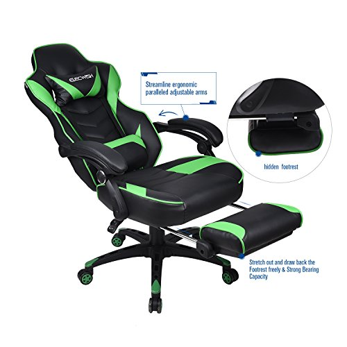 Gaming Chair Black Green for Adults with Footrest,High Back