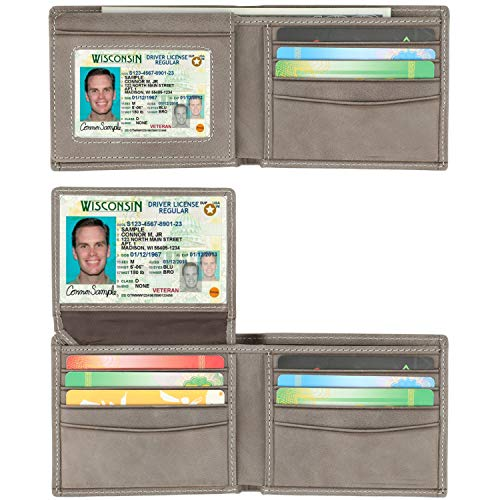 RFID Blocking Cowhide Leather Bifold Wallet for Men with 2 ID Windows(2 ID Window Gray)