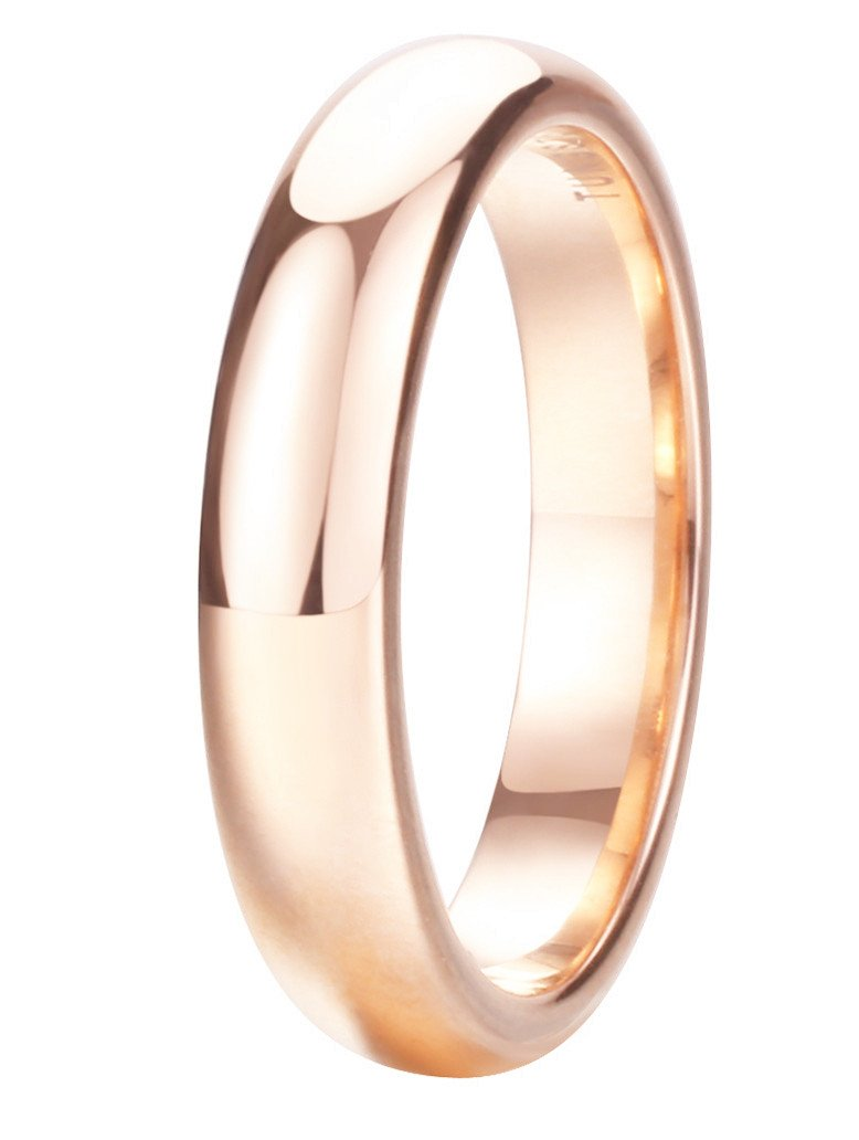 King Will Glory 4mm Rose Gold Plated Polish Comfort Fit Domed Tungsten Carbide Ring Wedding Band 7