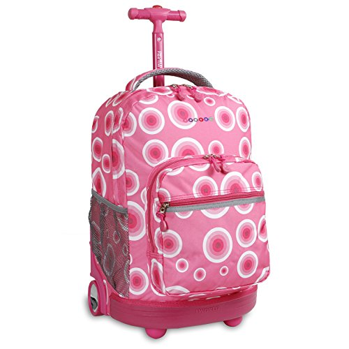 J World New York Sunrise Rolling Backpack, Pink Target, One Size