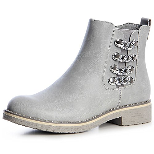 topschuhe24 1338 Damen Stiefeletten Chelsea Boots Booties Nieten Ketten Grau