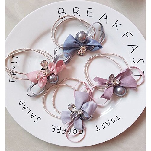 Puretime Hair Ponytail Holders Ribbon Fake Pearl Stretchy Elastic Styling Tool Hair Accessories - 1990's Themed Costumes