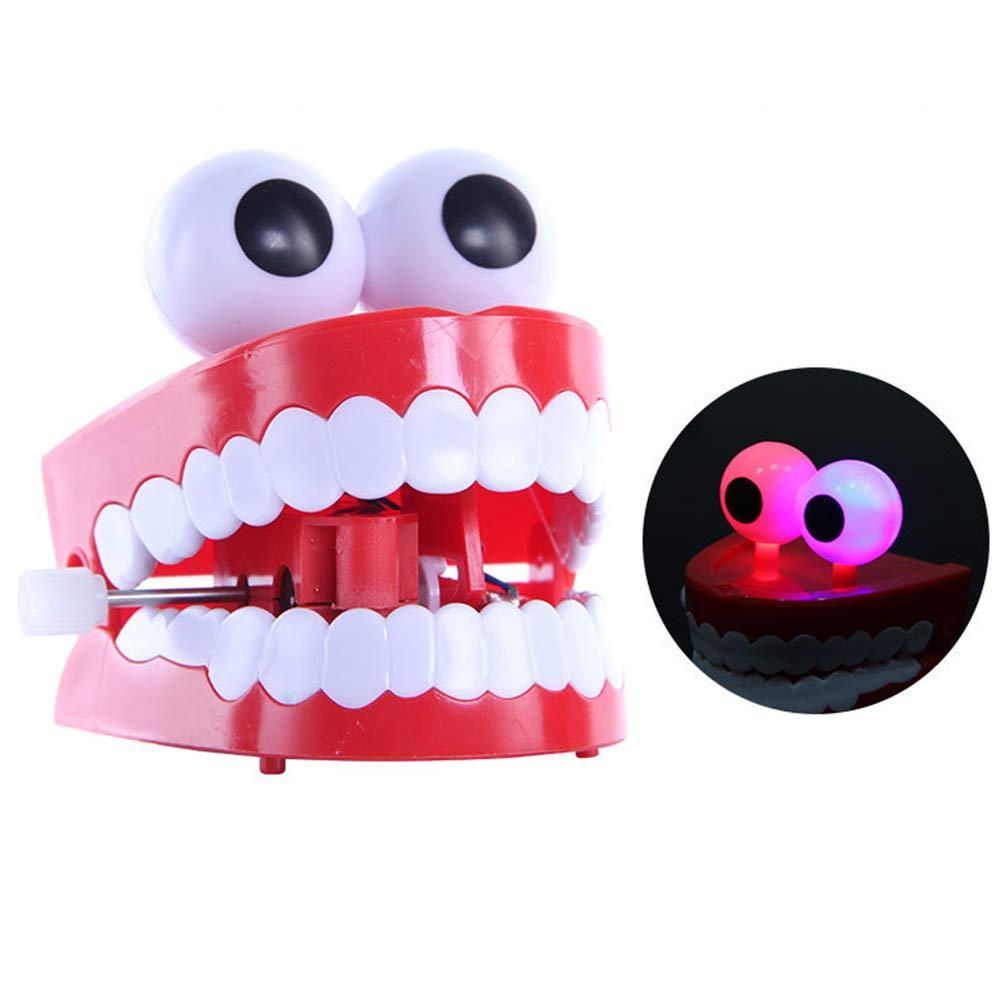 lightclub Funny Glowing Cartoon Eye Ball Teeth Denture Wind Up Clockwork Kids Spring Toy Gag Joke Trick Toy Novelty and Funny Toy for Baby Boy Girl Red