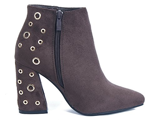 AgeeMi Shoes Damen Reißverschlüsse Spitzen Schuhe Blockabsatz Stiefeletten Braun