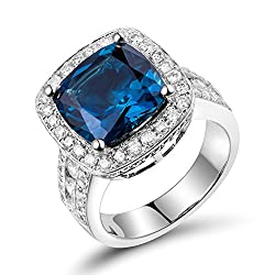 White Gold With Swiss Blue Diamond Ring
