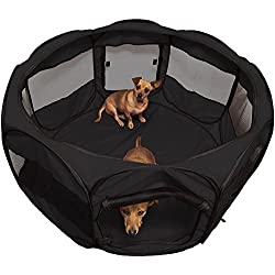 Black Foldable Pet Dog Cat Playpen Cage Portable Fence Kennel Tent Crate With Ebook