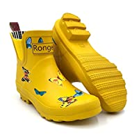 Rongee Women Short Ankle Rubber Rain Boots Yellow Chelsea Booties Ladies Butterfly Printed with Elastic Gore and Oxford Bag Packed
