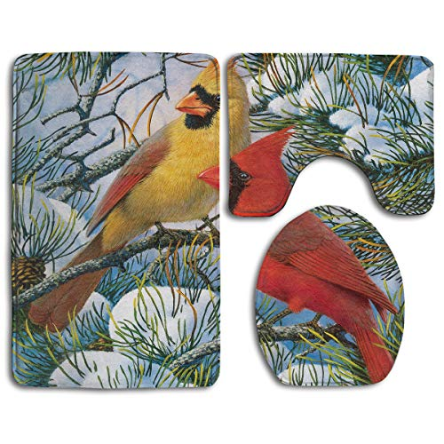 - Happybeth Bathroom Rug Mats Set 3 Piece, Cardinal Wallpaper Print Non-Slip Bath Rugs + Toilet Seat Cover + Contour Mat